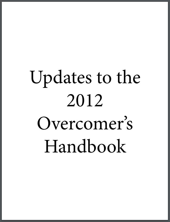 2012 Handbook Updates (PDF download) | Overcomers In Christ